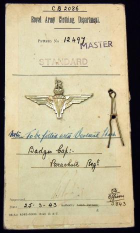 Patent Card for The Parachute Regiment, 1943.