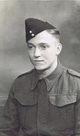 Pte Paul Aller as a new member of the Somerset Light Infantry, 1942