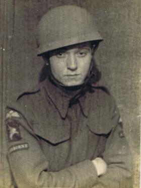 Pte Paul Aller in his helmet