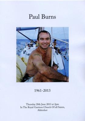 Funeral service card for Paul Burns, 2013.