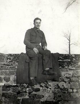 Paul Howell near Salisbury Cathedral, 1940.