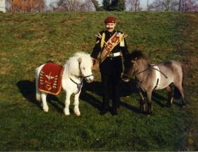 Pegasus 3 and Dodger with the Pony Major at Aldershot, c.1990s