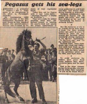 "Pegasus on HMS Triumph with his groom L/Cpl ""Jockey"" Pearson"