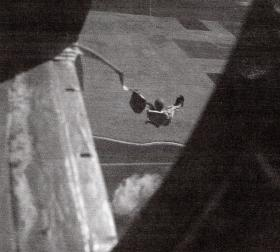 Pte Pendlebury jumping from a Dakota at RAF Aqir, Palestine, July 1947.
