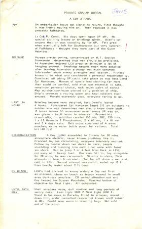 Personal account of events leading to deployment to Falklands.