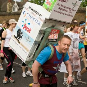 Pete Digby running the London Marathon carrying a washing machine, raising funds for the Afghan Trust, April 2012.