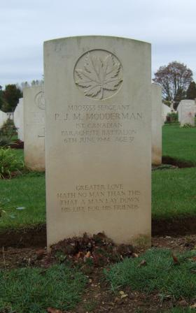 Headstone of Sgt PJM Modderman, Ranville War Cemetery, Normandy, 2011.