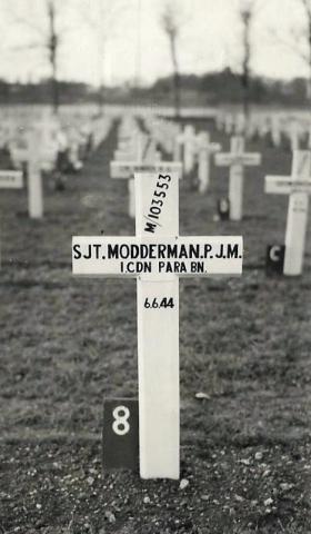 Sgt PJM Modderman's temporary grave marker at Ranville War Cemetery, Normandy.