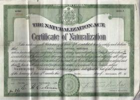 Peter Modderman's naturalization certificate, 3 September 1936.