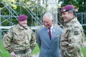 Major Paul Mort, HRH The Prince of Wales with The Regimental Colonel and Lt Col Radbourne, 10 September 2015.