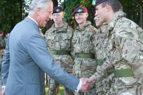 HRH The Prince of Wales with young recruits, 10 September 2015.