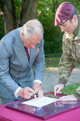 His Royal Highness The Prince of Wales at The Parachute Regiment Depot, 10 September 2015.