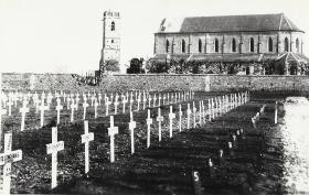 Photo of Ranville War Cemetery, Normandy sent to the widow of Sgt Modderman.