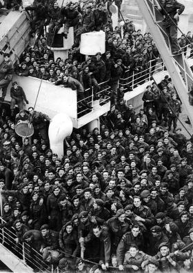 Troops including members of the 6th (Royal Welch) Parachute Battalion on route to/from Palestine.