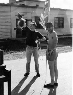 L/Cpl Steve Parker and John Martin Camp Wainwright Canada c1977