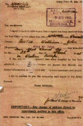 Letter notifying Pte Austin's parents that he had been wounded in action.
