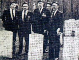 William Austin with other Parachute Regt veterans at the Reichwald Forest War Cemetery, 1985.