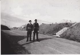 Piddlehinton Camp 1946,(L to R) Sgt Jack Town and Sgt Ned Sparks taken on road by NCO's School Office, Sgt's mess in background