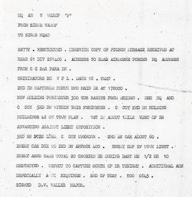 A pigeon's message, sent September 1944.