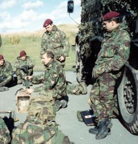 Members of Signals Platoon, 10 PARA,  Brecon Beacons, Wales 1990.