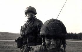 Major Hugo Fletcher, Adjutant of 10 PARA, with his signaller, Prosper Keating, Salisbury Plain c1989.