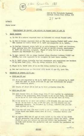 Preliminary 2 PARA Operation report of attack on Plaman Mapu, Borneo, 1965