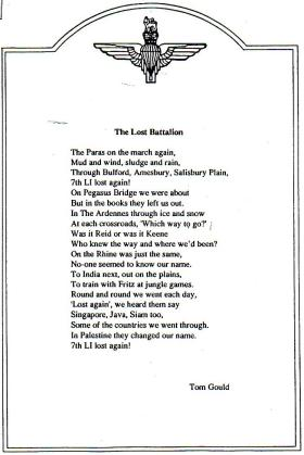 Poem 'The lost Battalion', by Tom Gould
