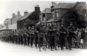 The 1st Polish Independent Parachute Brigade on parade in Scotland.