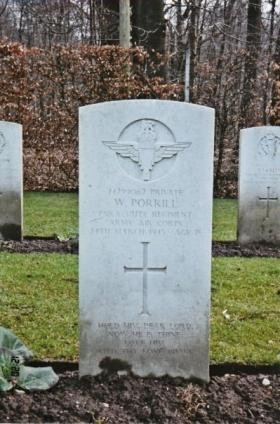 Pte Bill Porrill's Headstone, Reichwald Forest Cemetery, Germany