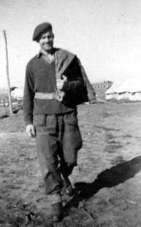 L/Cpl Percy Andrews on his post round, c.1944.