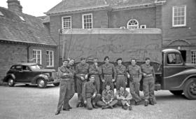 Members of 1 Special Communications Regiment outside Poundon House, near Bicester