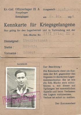 Lt Ritchie's ID Card, Oflag IX/AH Spangenberg, 1945.