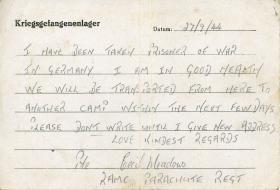 Pte Meadows' Prisoner of War letter, 27 September 1944.