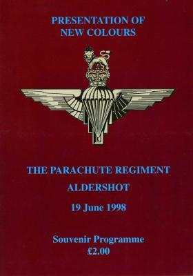 Programme for the Presentation of Colours at Aldershot, 1998.