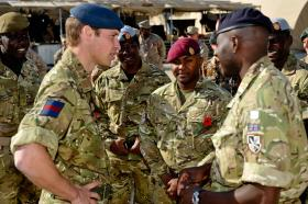 HRH Prince William talking with soldiers from 16 Air Assault Brigade, Afghanistan, 2010
