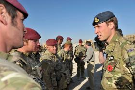 HRH Prince William speaks with members of the Brigade Reconnaissance Force, Afghanistan, 2010