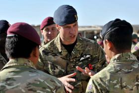 HRH Prince William speaks with members of 16 Air Assault Brigade, Afghanistan, 2010