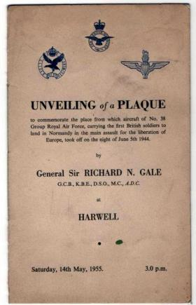 "Programme of ""Unveiling of a Plaque"" 1955"
