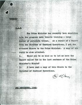 Letter from Ismay about progress of training parachute troops.