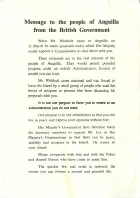 Message to people of Anguilla from the British Government