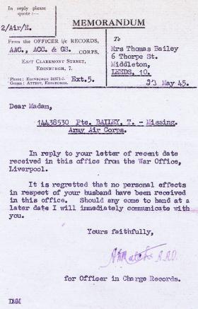 Letter to Mrs Bailey regarding the personal effects of her husband, Thomas Bailey, dated 23 May 1945.