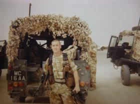 Pte Edwards returns to base at the end of another border patrol, Iraq, 2005