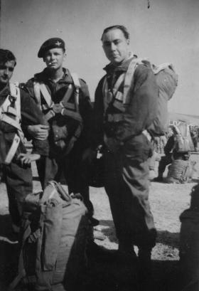Pte Kent preparing for a parachute jump Palestine 1947