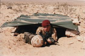 Pte Phil Train in survival training, Egypt 1997.