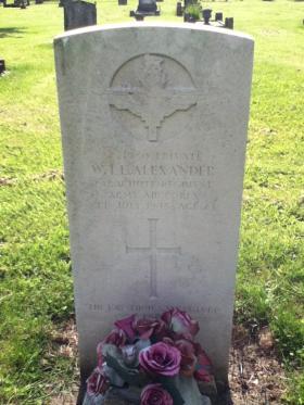 Headstone of Pte WTE Alexander, Highworth Cemetery, Wiltshire, UK, undated.