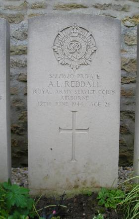 Headstone of Pte A Reddall, Herouvillette Cemetery, October 2010.