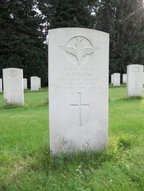 Headstone of Pte A Wilkins, Becklingen War Cemetery, August 2011.
