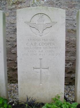 Headstone of Pte Charles Cooper, Herouvillette Cemetery, October 2010.