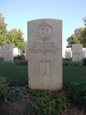 Headstone of Pte CE Thornicroft, Bari War Cemetery, November 2011.