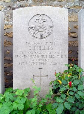 Headstone of Pte C Phillips, Herouvillette Cemetery, October 2010.